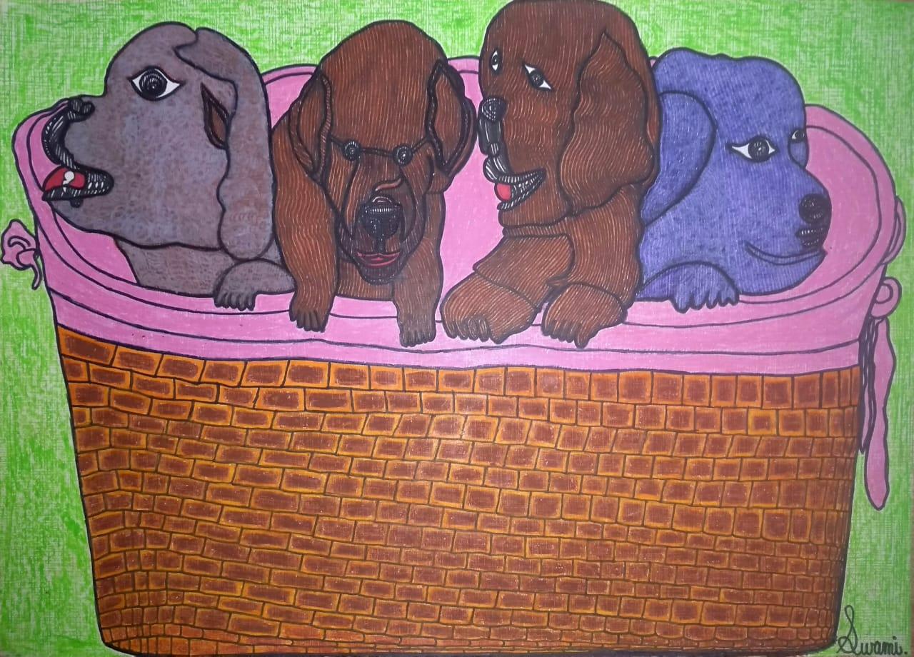 Puppies in a basket Slider 1/1