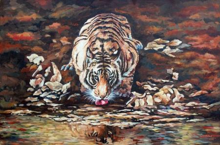Tiger Drinking Water Slider 1/3