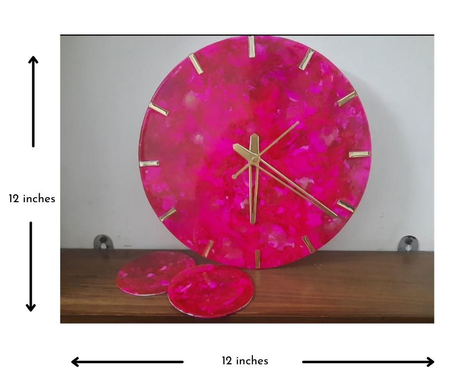 Alcohol ink Clock(Pink) Slider 4/5