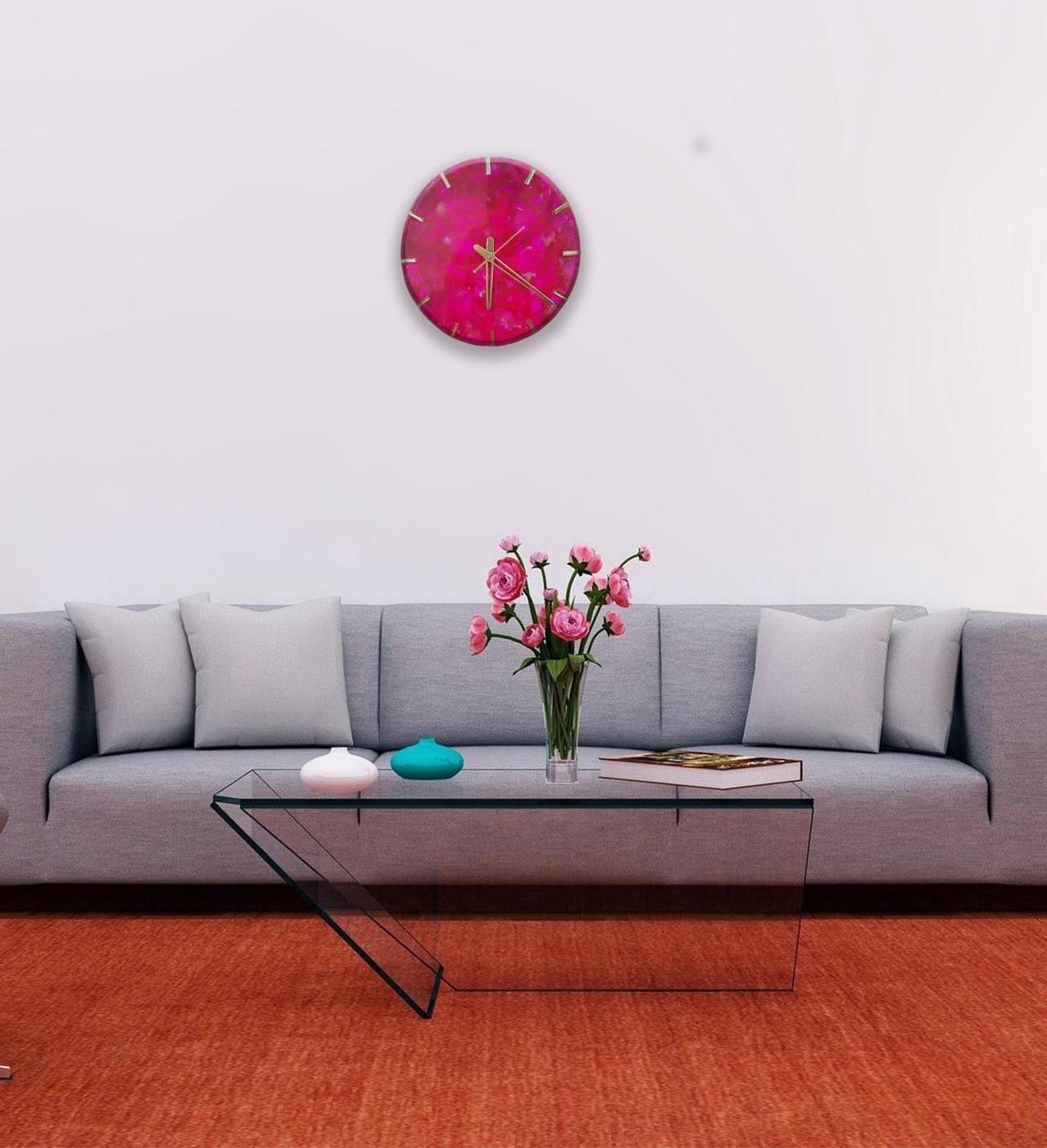 Alcohol ink Clock(Pink) Slider 2/5