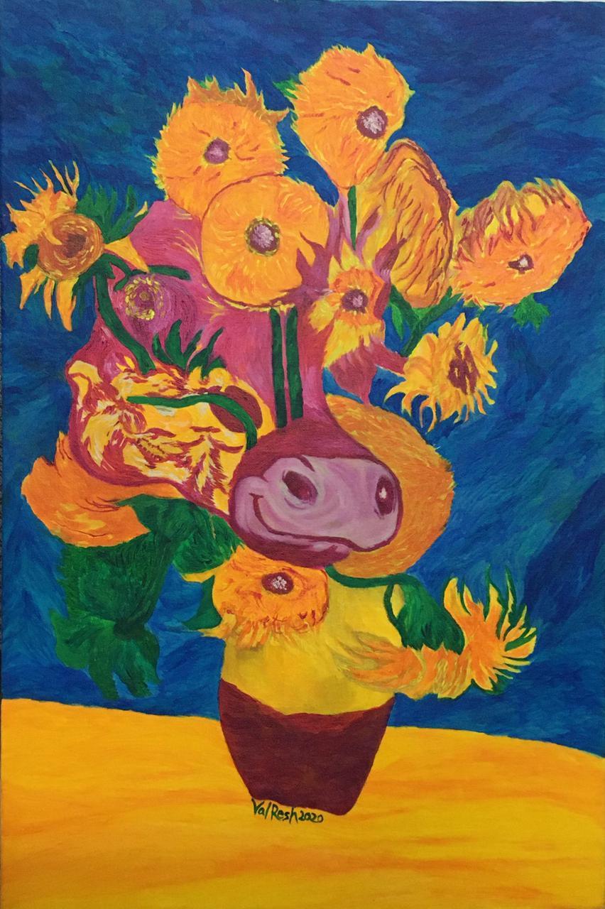 Indian Cow Roamed into Van Gogh's Sunflowers Slider 1/1