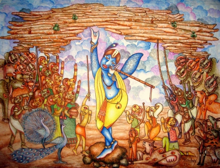 Lord Krishna And Govardhan Parvat