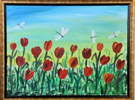 Tulips and Dragonflies