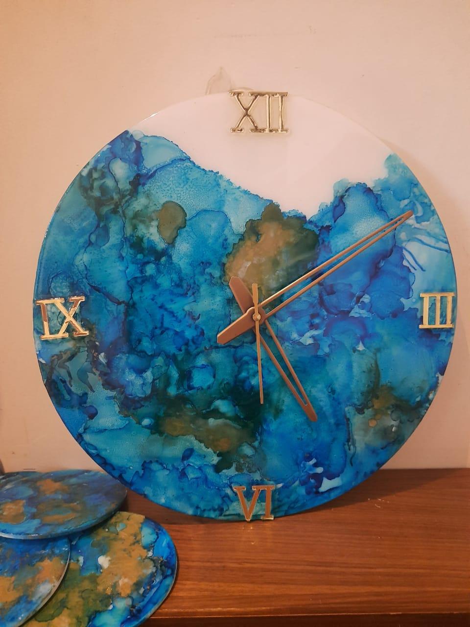 Alcohol ink Clock(Waves) Slider 1/4