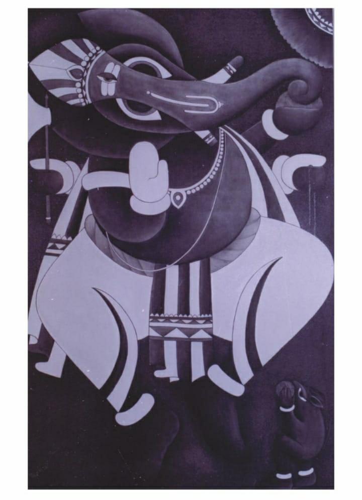 Dancing Ganesha black and white Slider 1/1