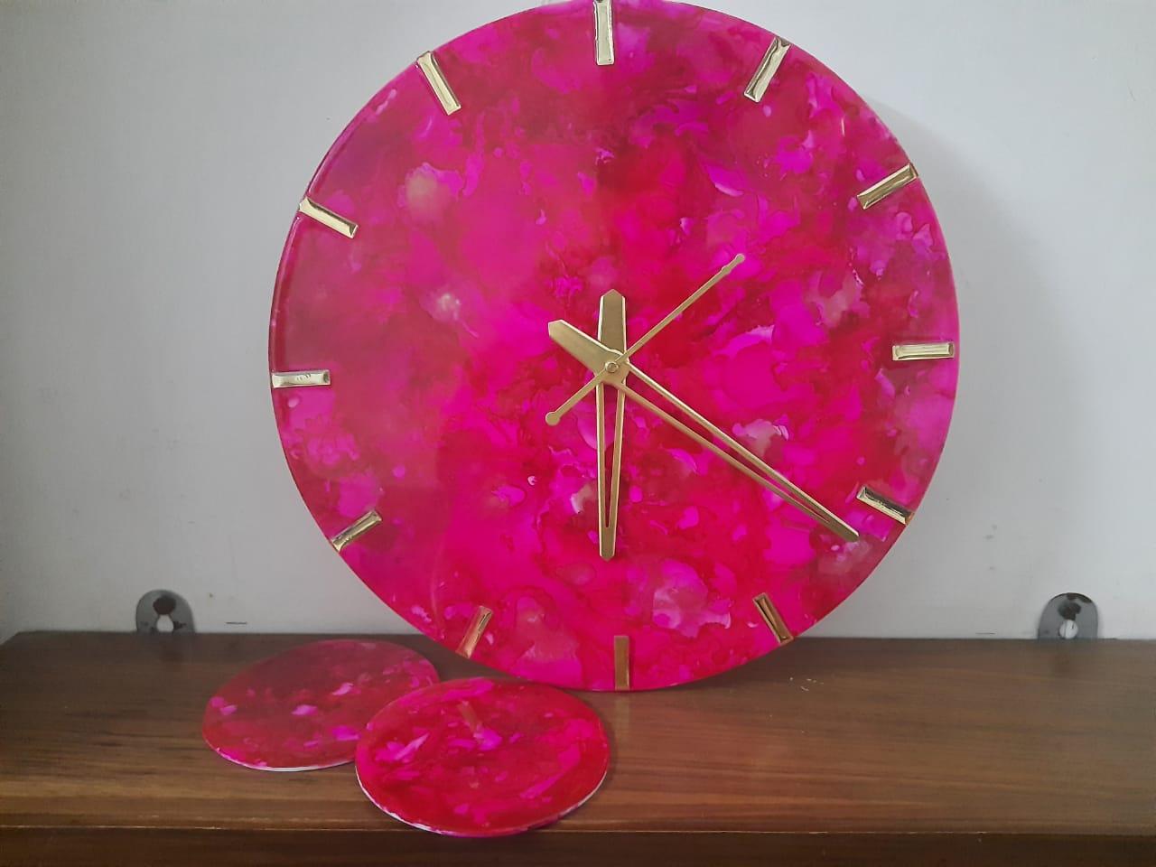 Alcohol ink Clock(Pink) Slider 1/5