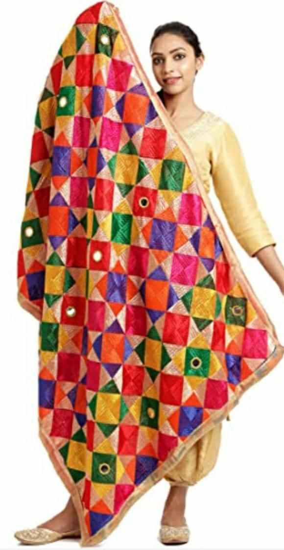 Punjabi Phulkari Dupatta with Mirror Work Slider Thumbnail 1/3