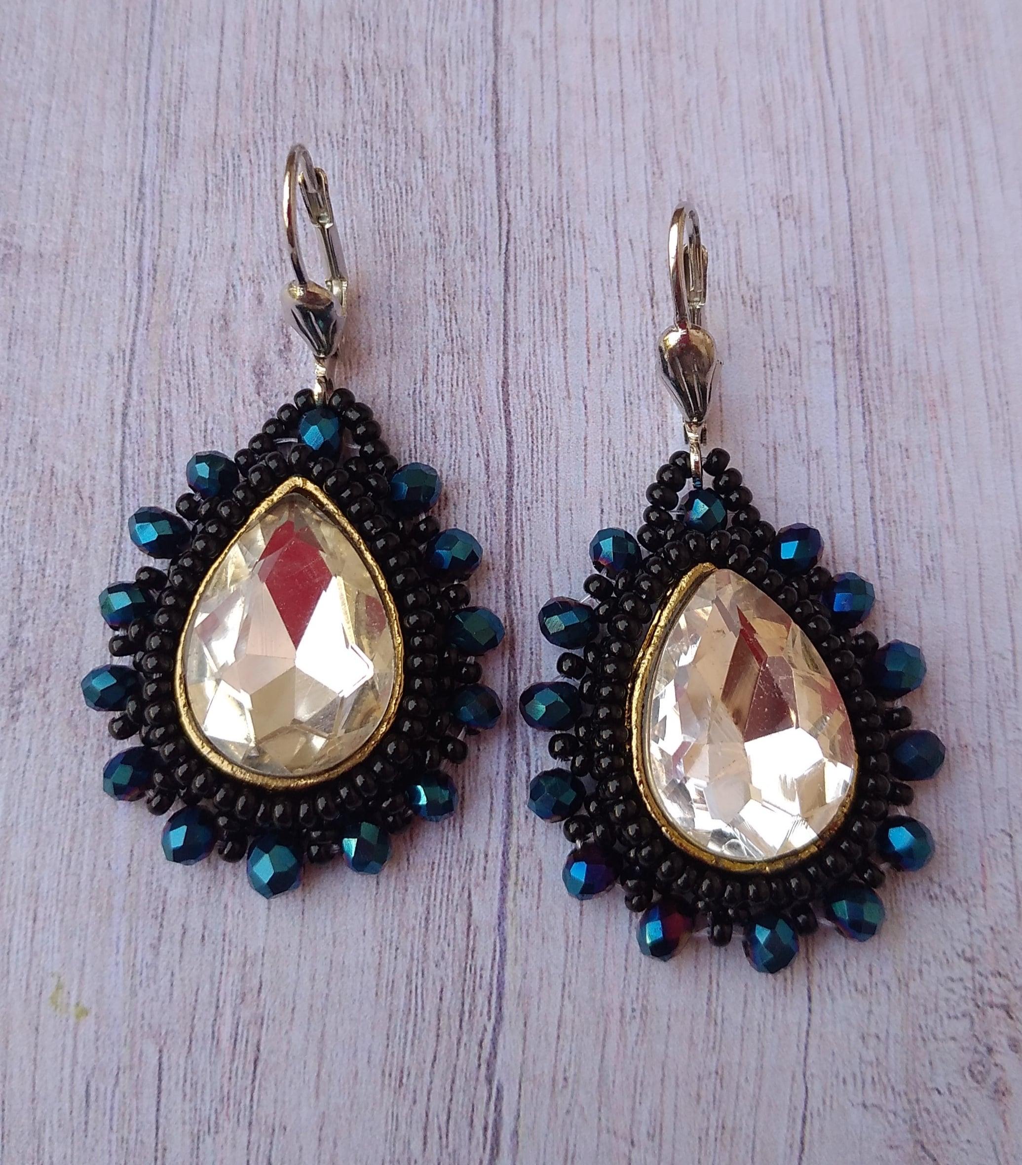 Women's Beaded Drop Earrings with Glittering Stone Work Slider Thumbnail 1/4