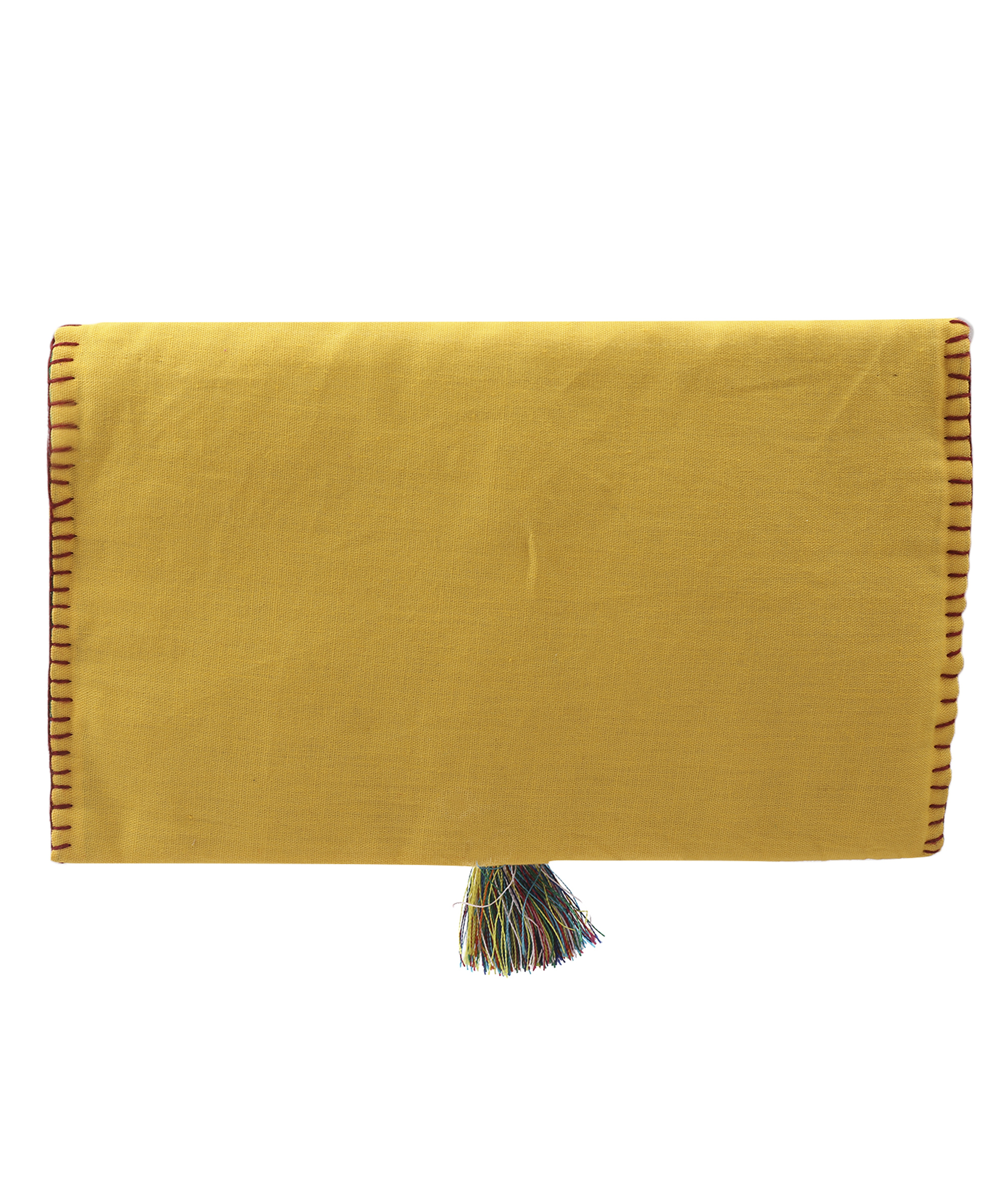 Women's Embroidered Clutch, Poplin Cotton Fabric (Yellow) Slider Thumbnail 4/4