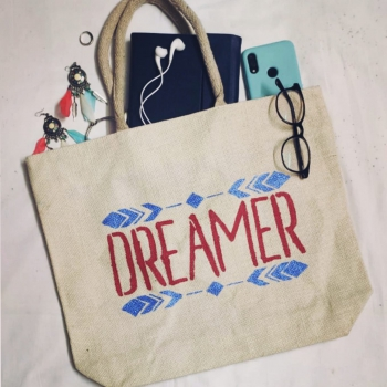 Dreamer Red - Designer Hand Painted Jute Bags