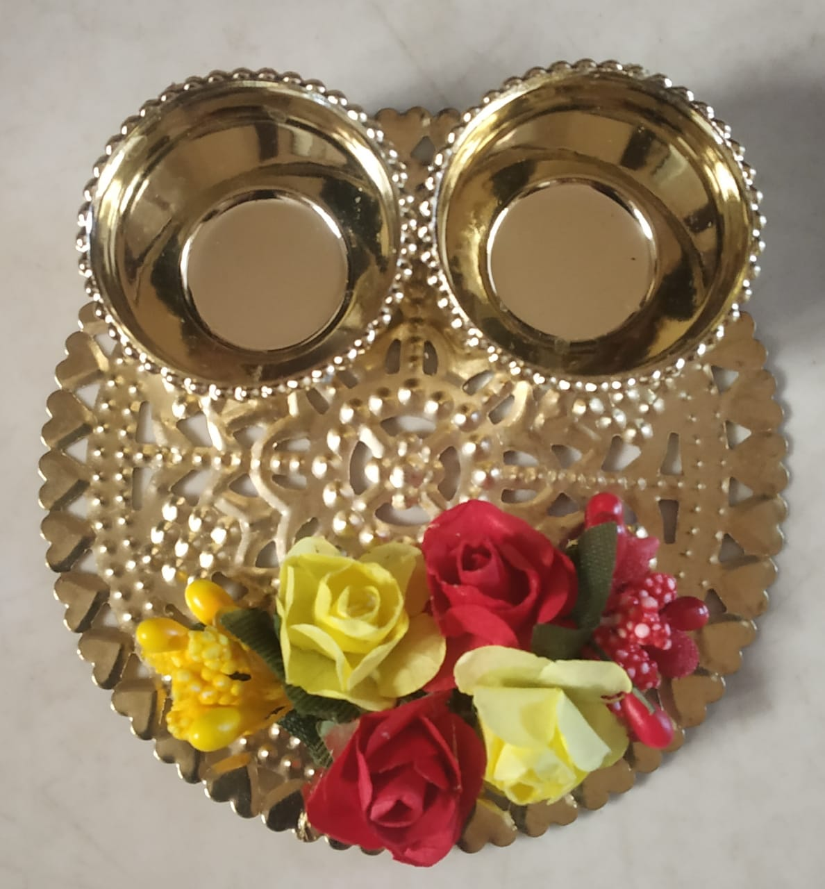 Decorative Kankavati (Roli & Chawal Platter) (Set of 2) Slider Thumbnail 1/1