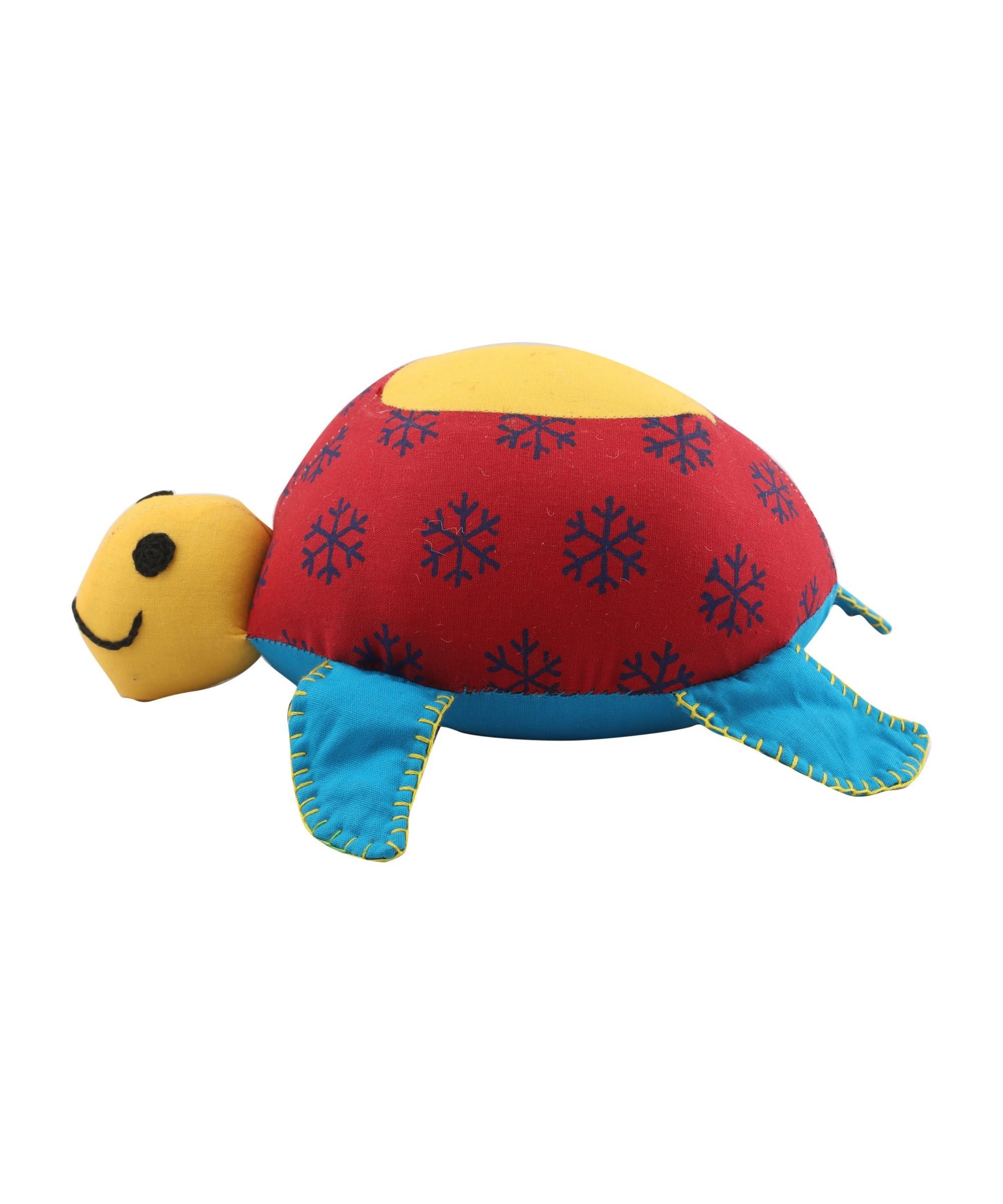 Patchwork Block Printed Soft Toy Tortoise - Big (Multicoloured) Slider Thumbnail 1/3