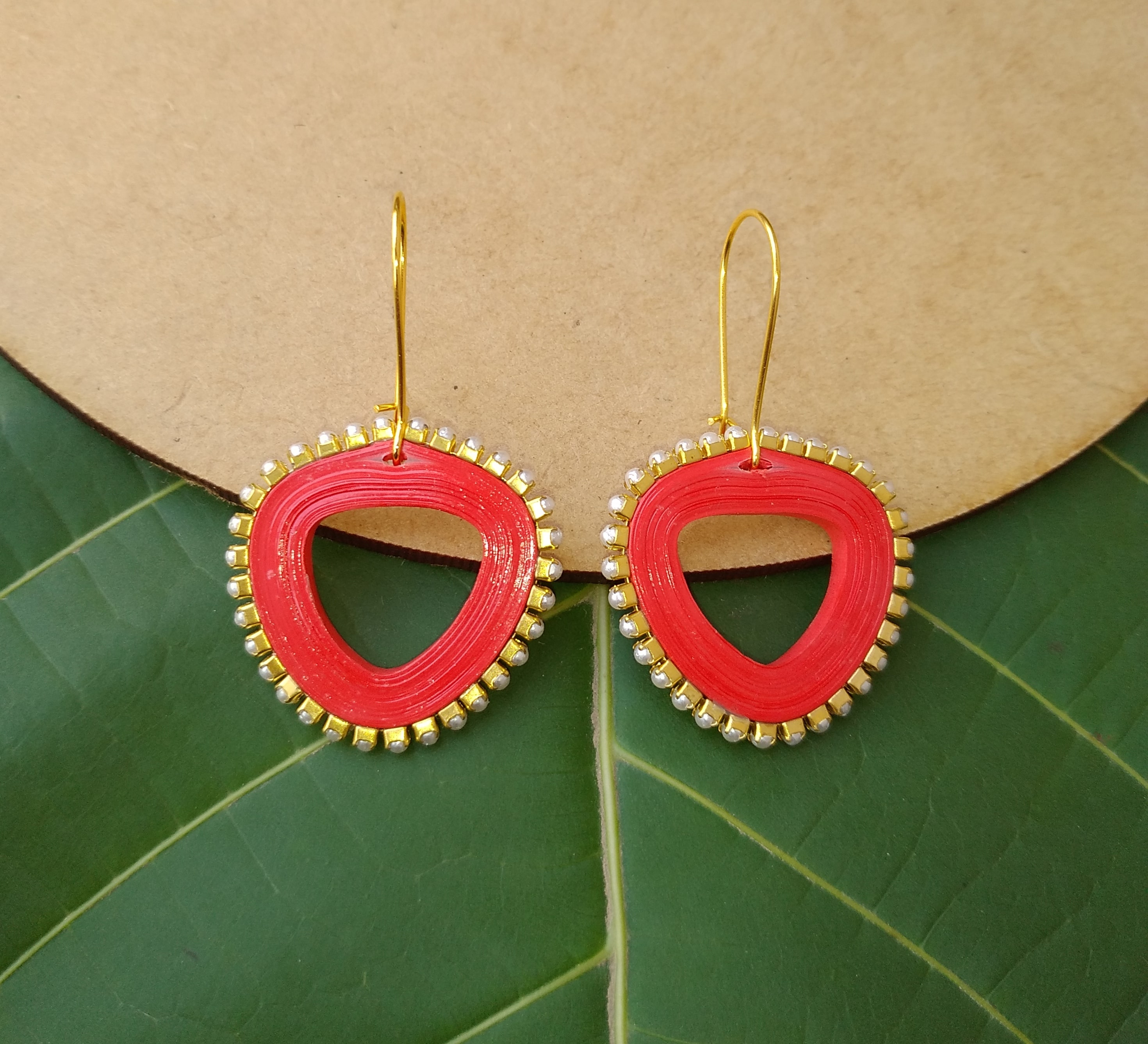 Women's Triangle drop Dangle Earrings Slider Thumbnail 4/6