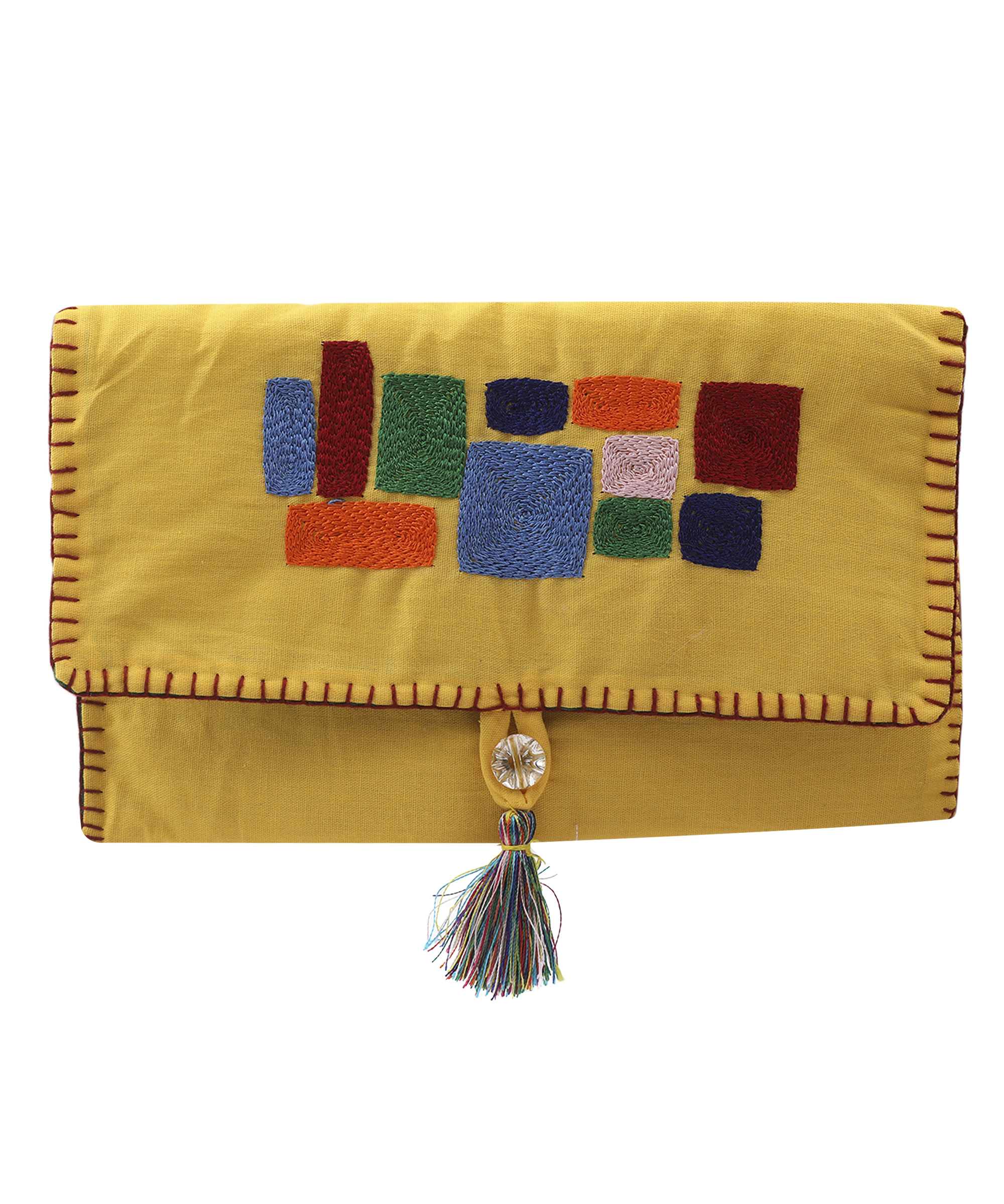 Women's Embroidered Clutch, Poplin Cotton Fabric (Yellow) Slider Thumbnail 2/4