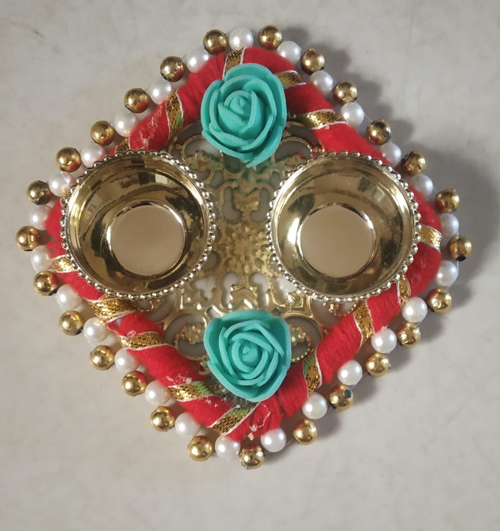 Kankavati Decorated with Beads (Roli & Chawal Platter) (Set of 2) Slider Thumbnail 1/1