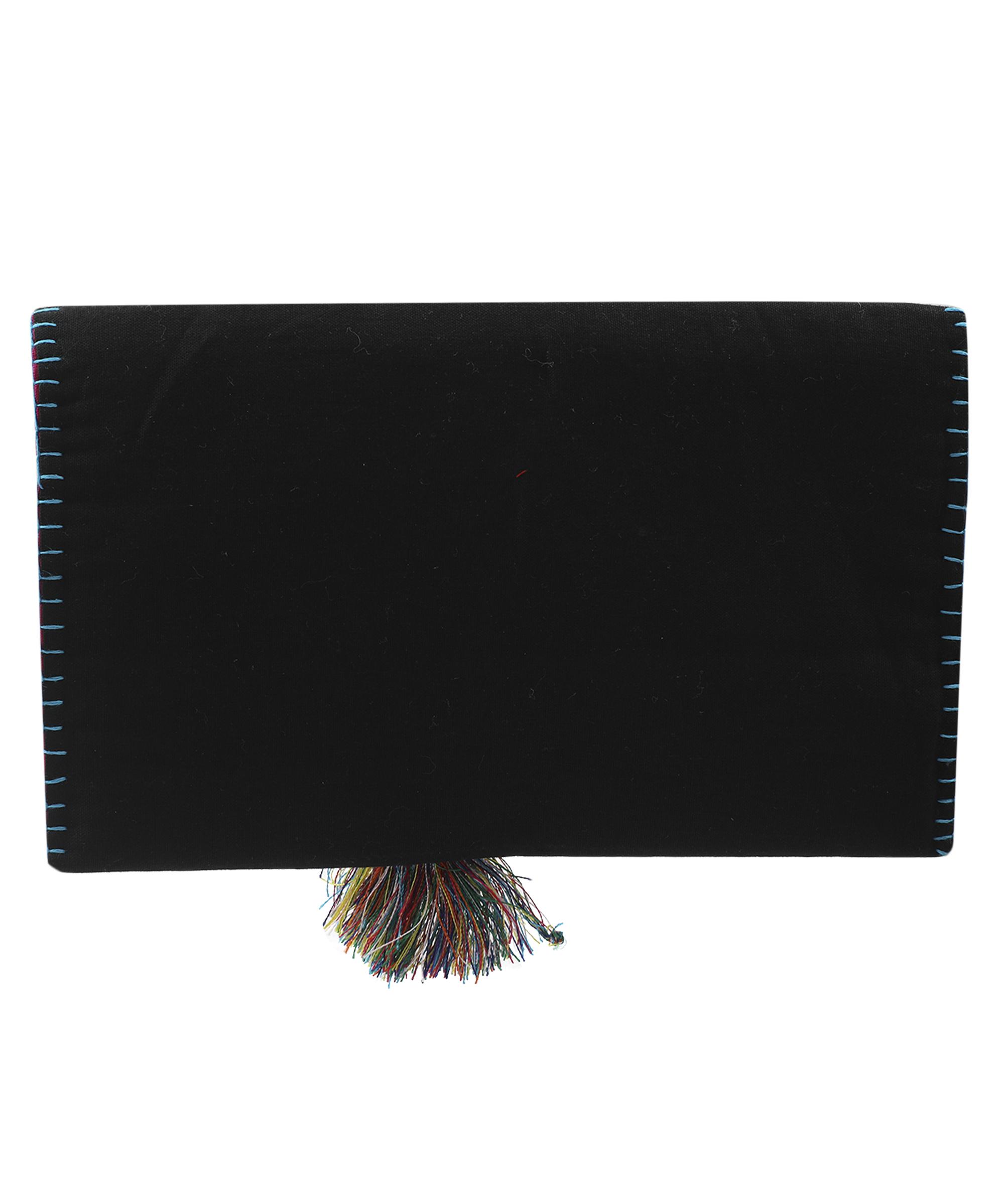 Women's Embroidered Clutch, Poplin Cotton Fabric (Spiral - Black) Slider Thumbnail 4/4