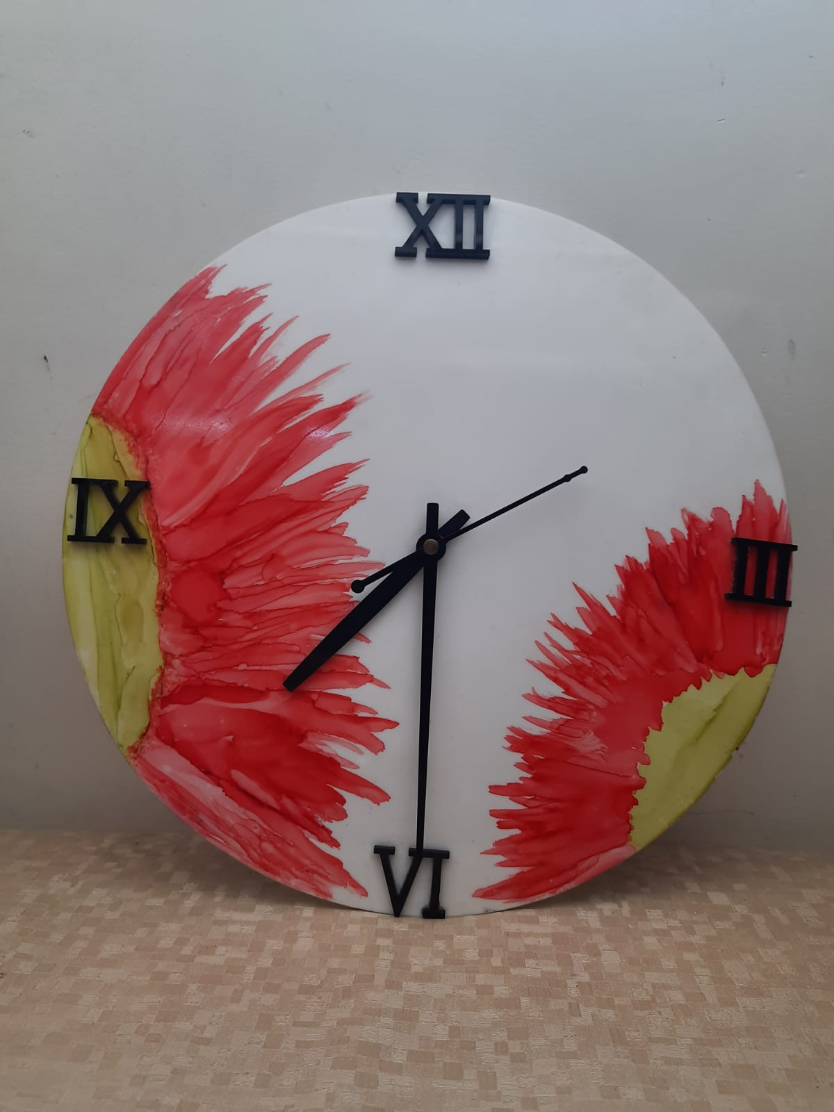 Alcohol Ink Clock (Sun colours) Slider Thumbnail 1/1