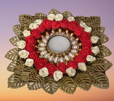 Flowers Diya Plate with Golden Leaves Slider Thumbnail 1/1