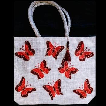 Red Butterflies - Designer Hand Painted Jute Bags
