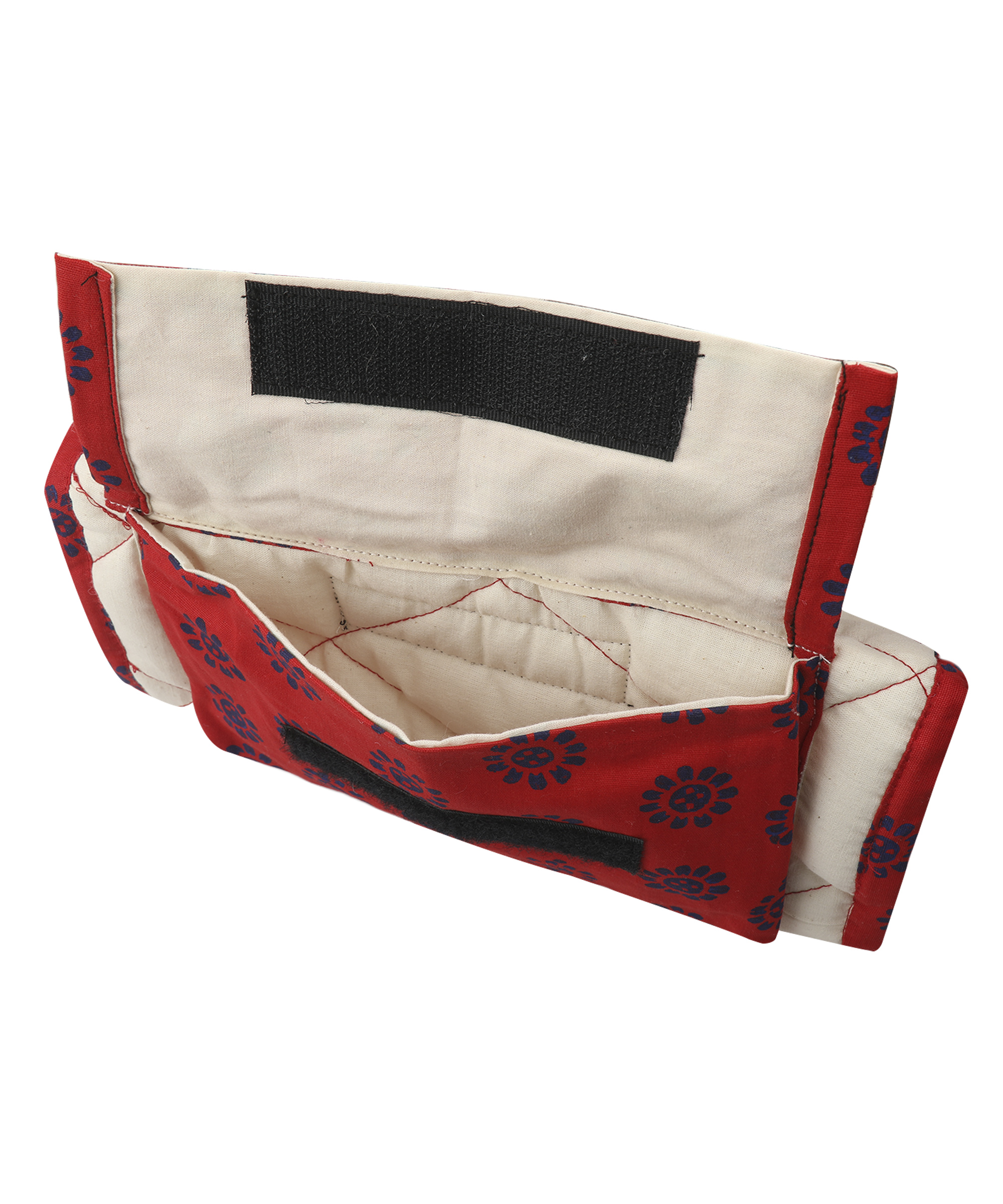 Patchwork Block Printed Wire Organiser (Red) Slider Thumbnail 2/2