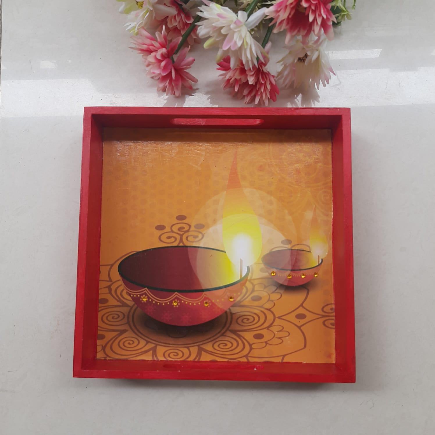 Diwali Hamper with Decoupage Tray, Tealights, Greeting Card, Chikkis Slider Thumbnail 2/4