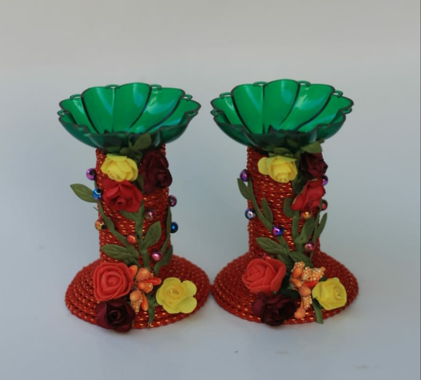 Assorted colors candle stands with Paper Flowers (Set of 2) Slider Thumbnail 3/8