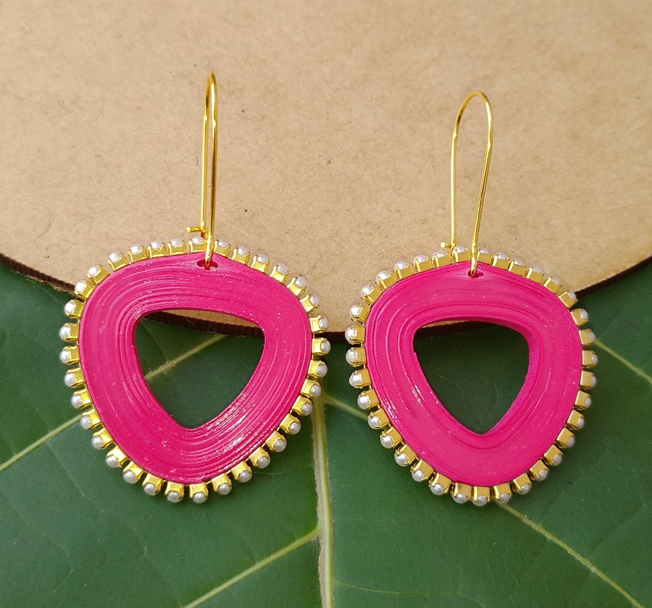 Women's Triangle drop Dangle Earrings Slider Thumbnail 1/6