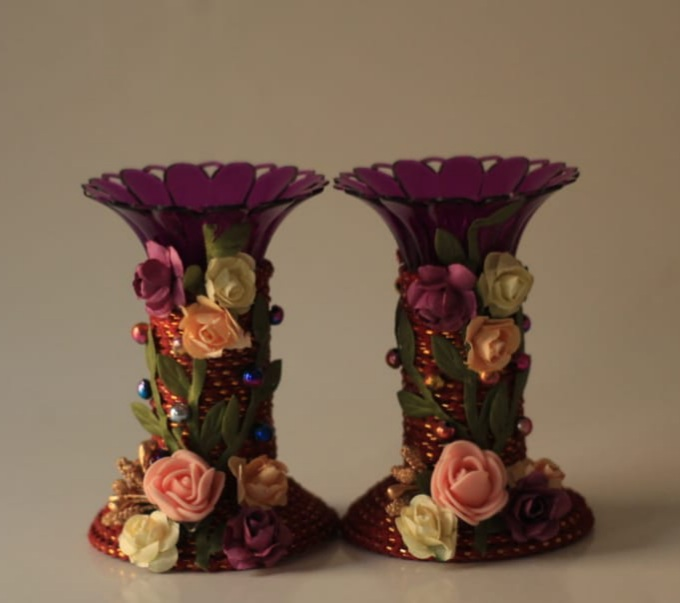 Assorted colors candle stands with Paper Flowers (Set of 2) Slider Thumbnail 6/8