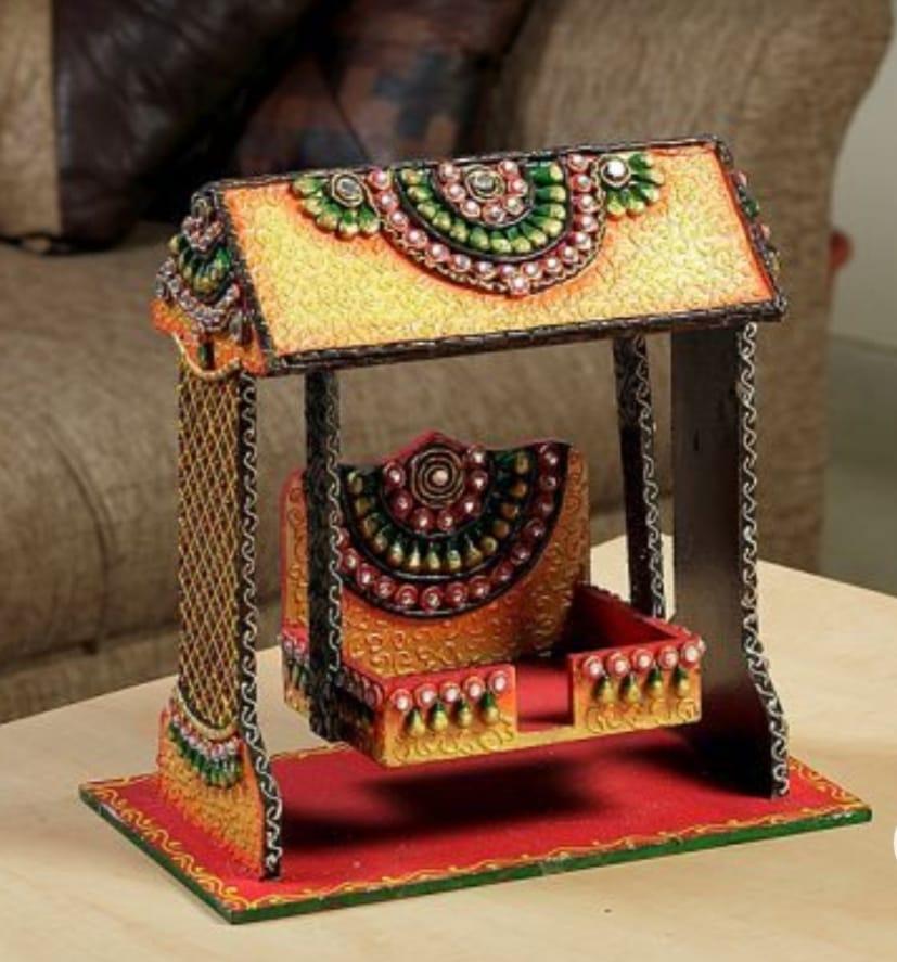 Embroidered Wooden Swing (Jhula) for Krishna Slider Thumbnail 1/1