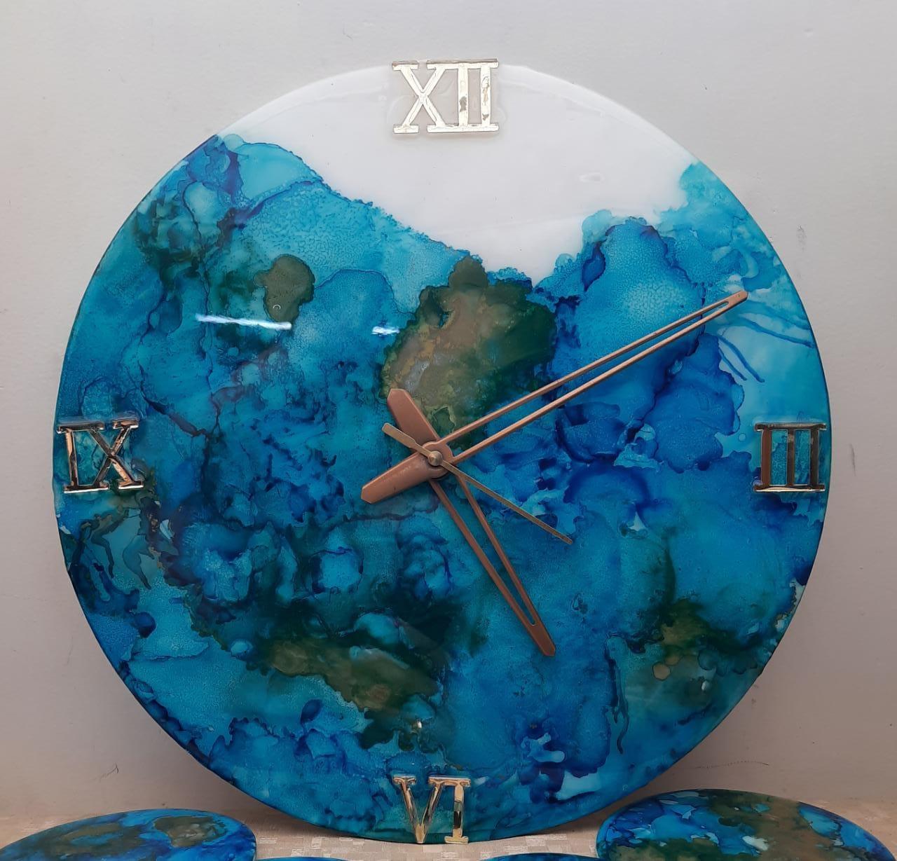 Alcohol Ink Clock(Blue Waves) Slider Thumbnail 1/1