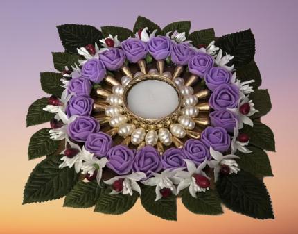 Flowers Diya Plate Slider Thumbnail 2/6