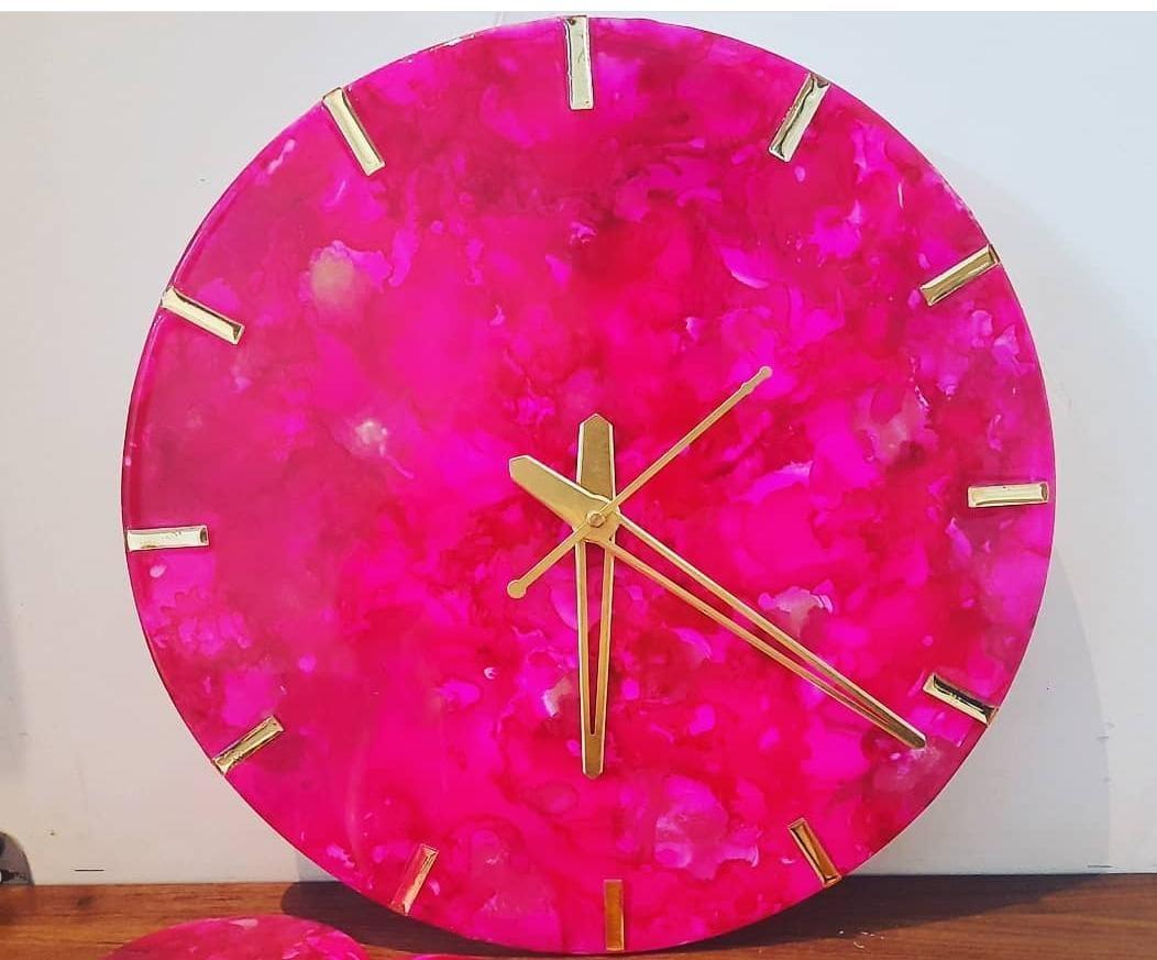 Alcohol Ink Clock (Pink) Slider Thumbnail 1/1