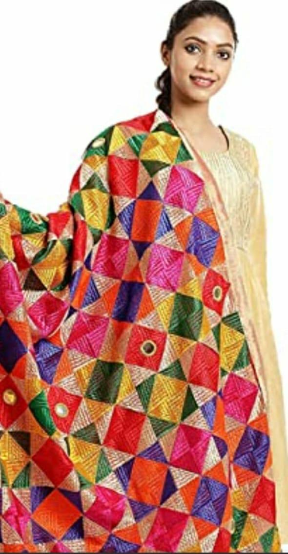 Punjabi Phulkari Dupatta with Mirror Work Slider Thumbnail 2/3