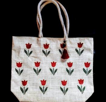 Tulips White Jute Base - Designer Hand Painted Jute Bags