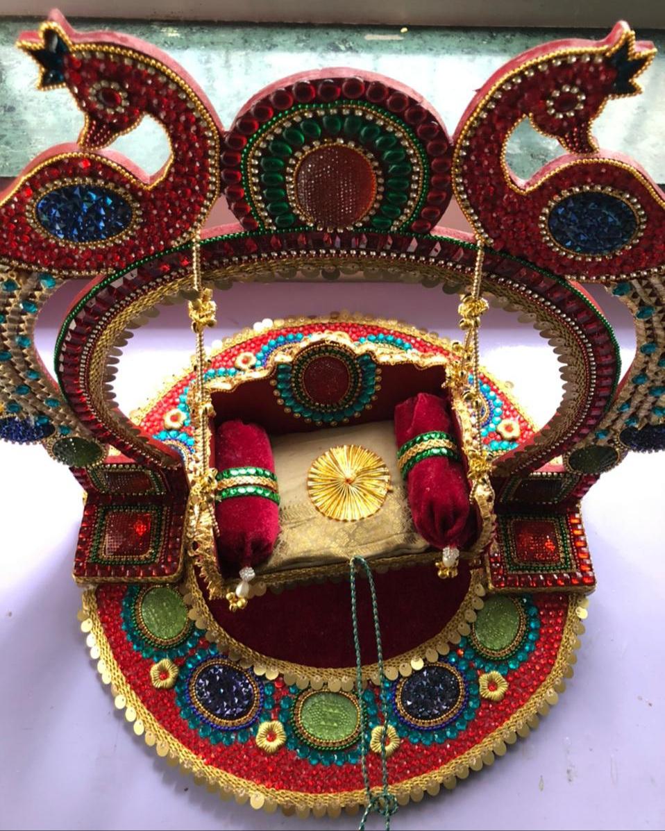 Peacock adorned Swing (Jhula) for Janmashtami Slider Thumbnail 2/2
