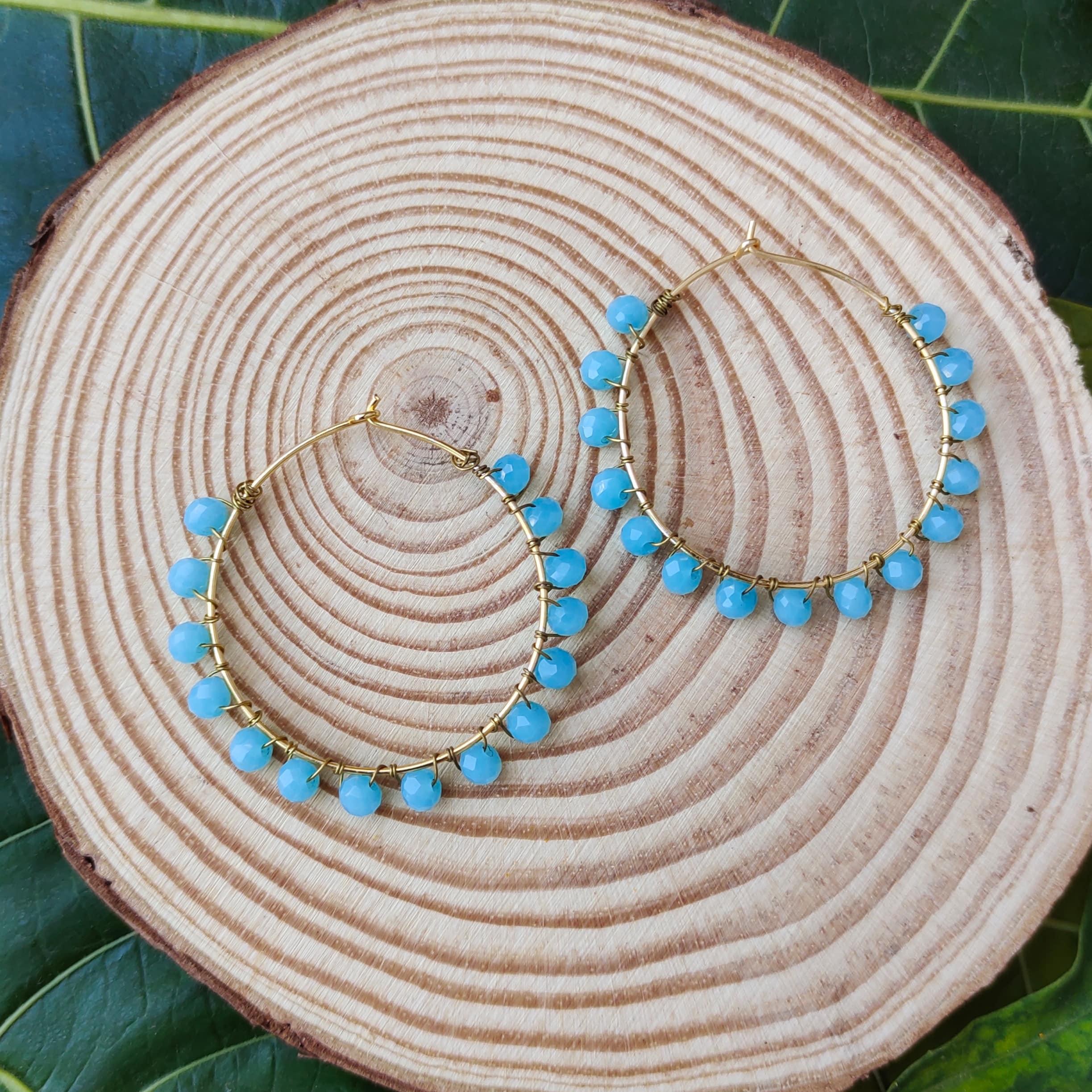 Women's Handmade Intricate Wire Wrapped beaded hoop Earrings Slider Thumbnail 2/3