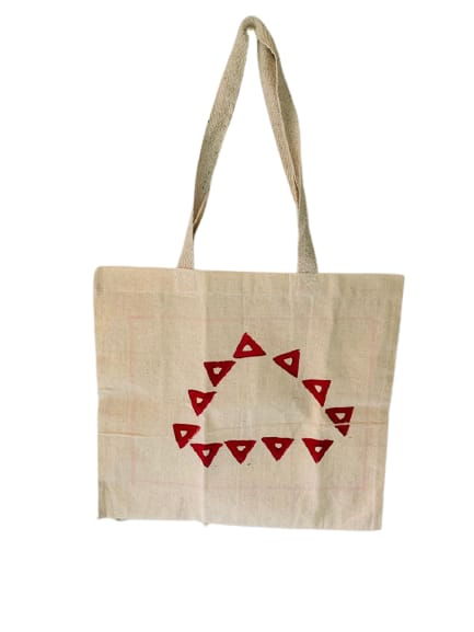 Kora Tote Bag with Red Triangles Slider Thumbnail 1/5