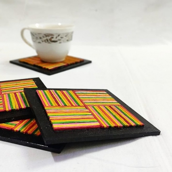 Multicolour Wooden Stick Coasters (Set of 4)