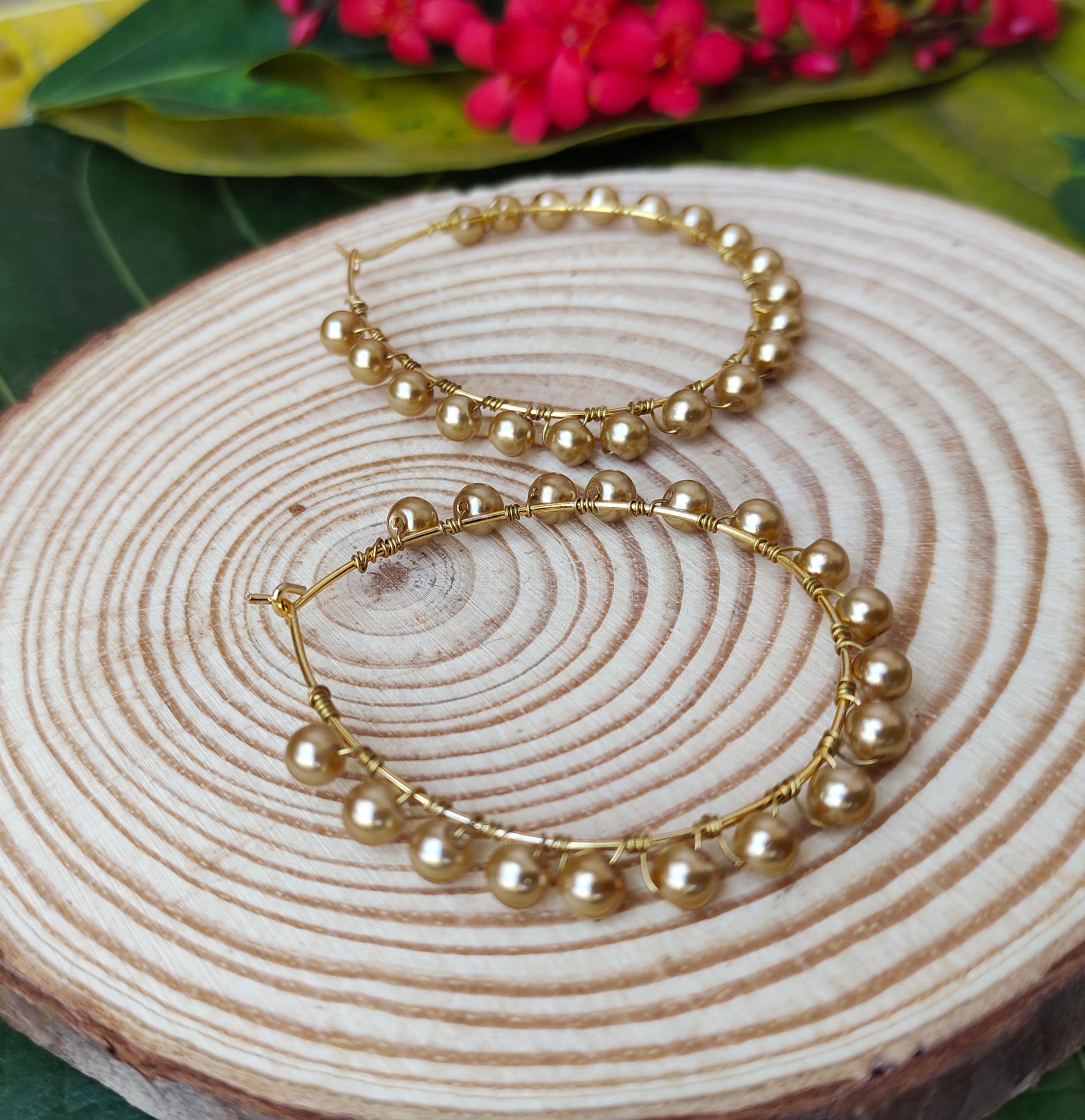 Women's Handmade Golden Pearl Wire Wrapped Hoop Earrings Slider Thumbnail 3/3