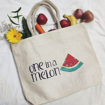 One In A Melon - Designer Hand Painted Jute Bags