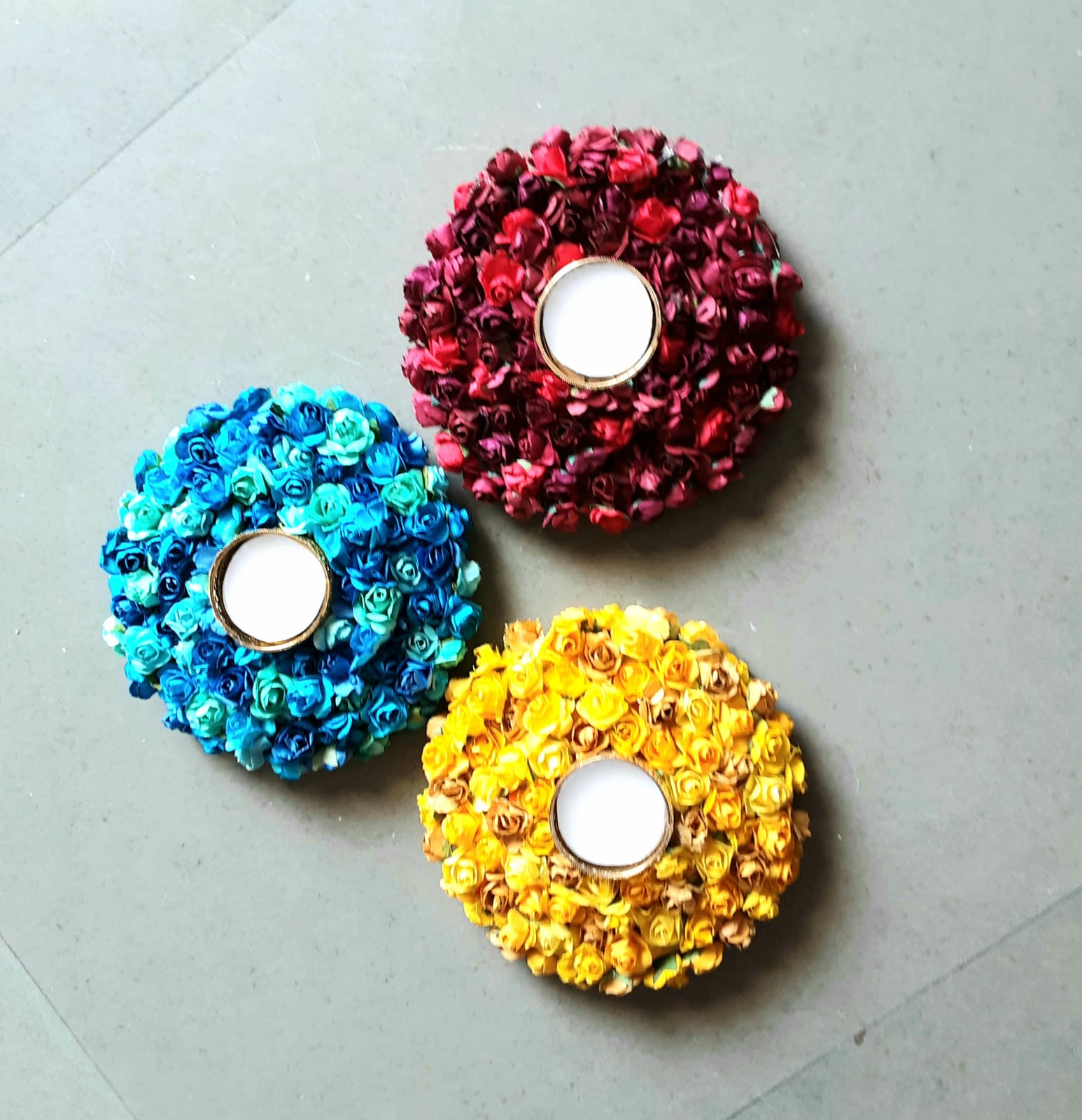 Assorted colors candle stands with Foam Base Slider Thumbnail 1/1