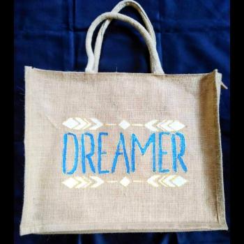 Dreamer Blue - Designer Hand Painted Jute Bags