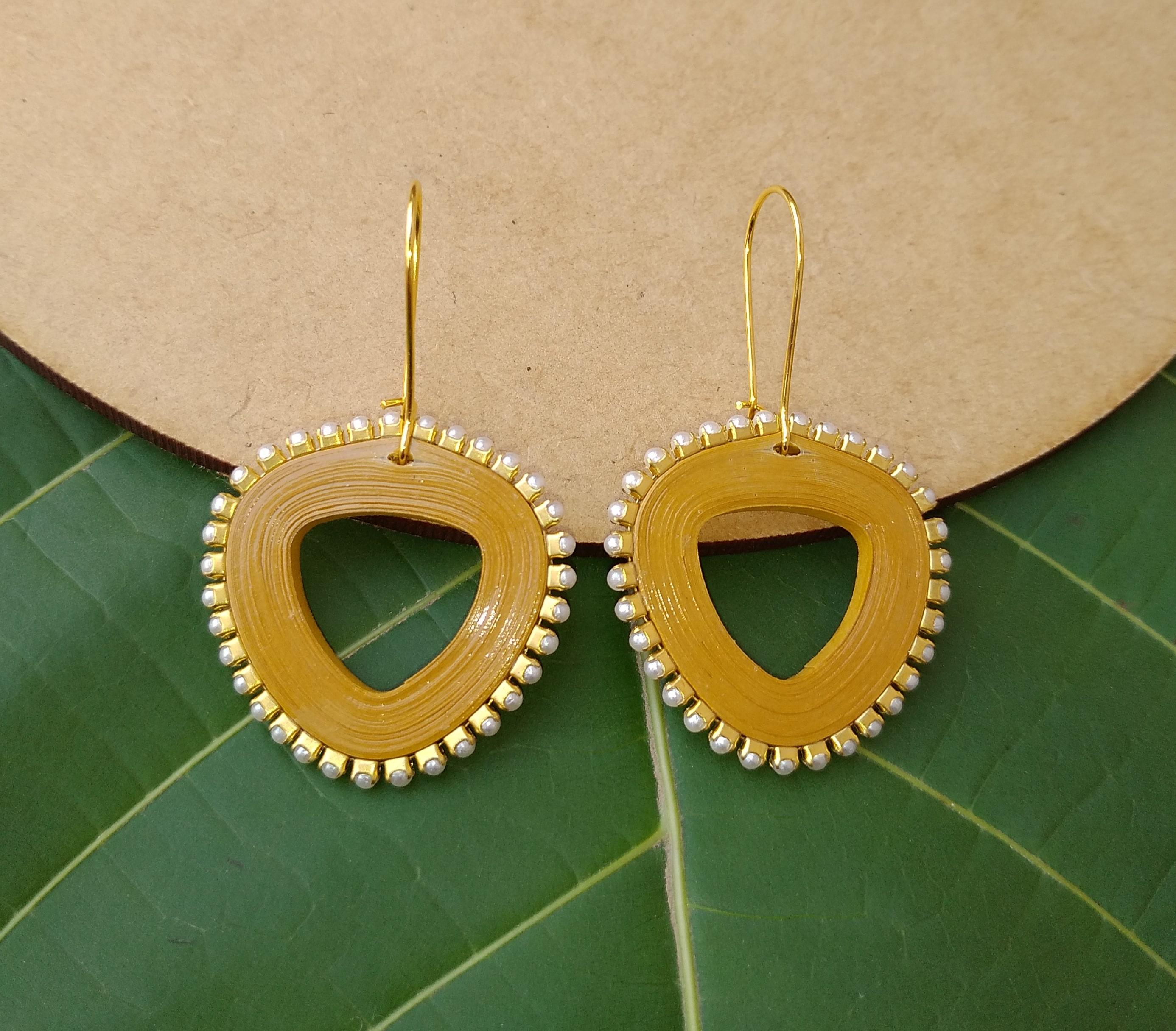 Women's Triangle drop Dangle Earrings Slider Thumbnail 5/6