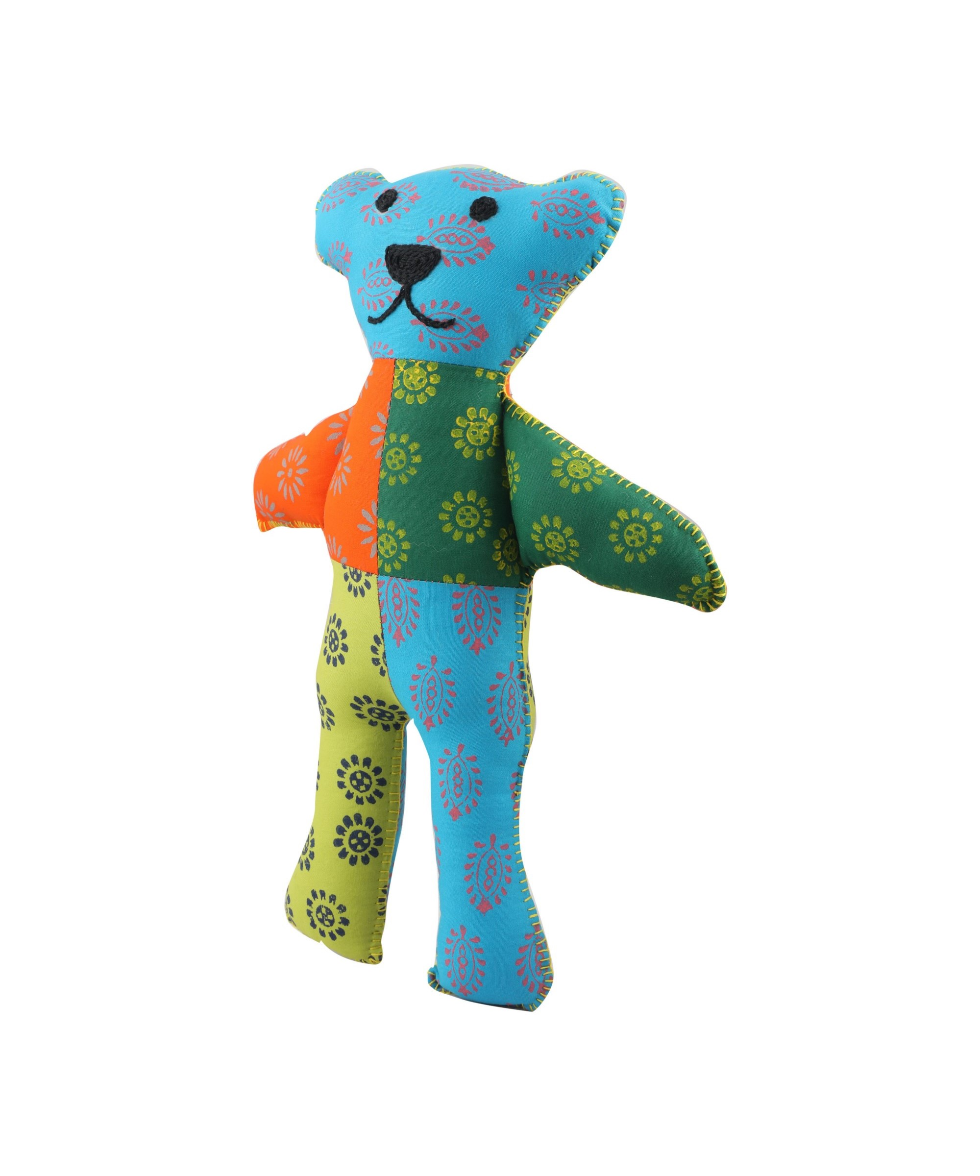 Patchwork Block Printed Soft Toy - Teddy (Multicoloured) Slider Thumbnail 2/3