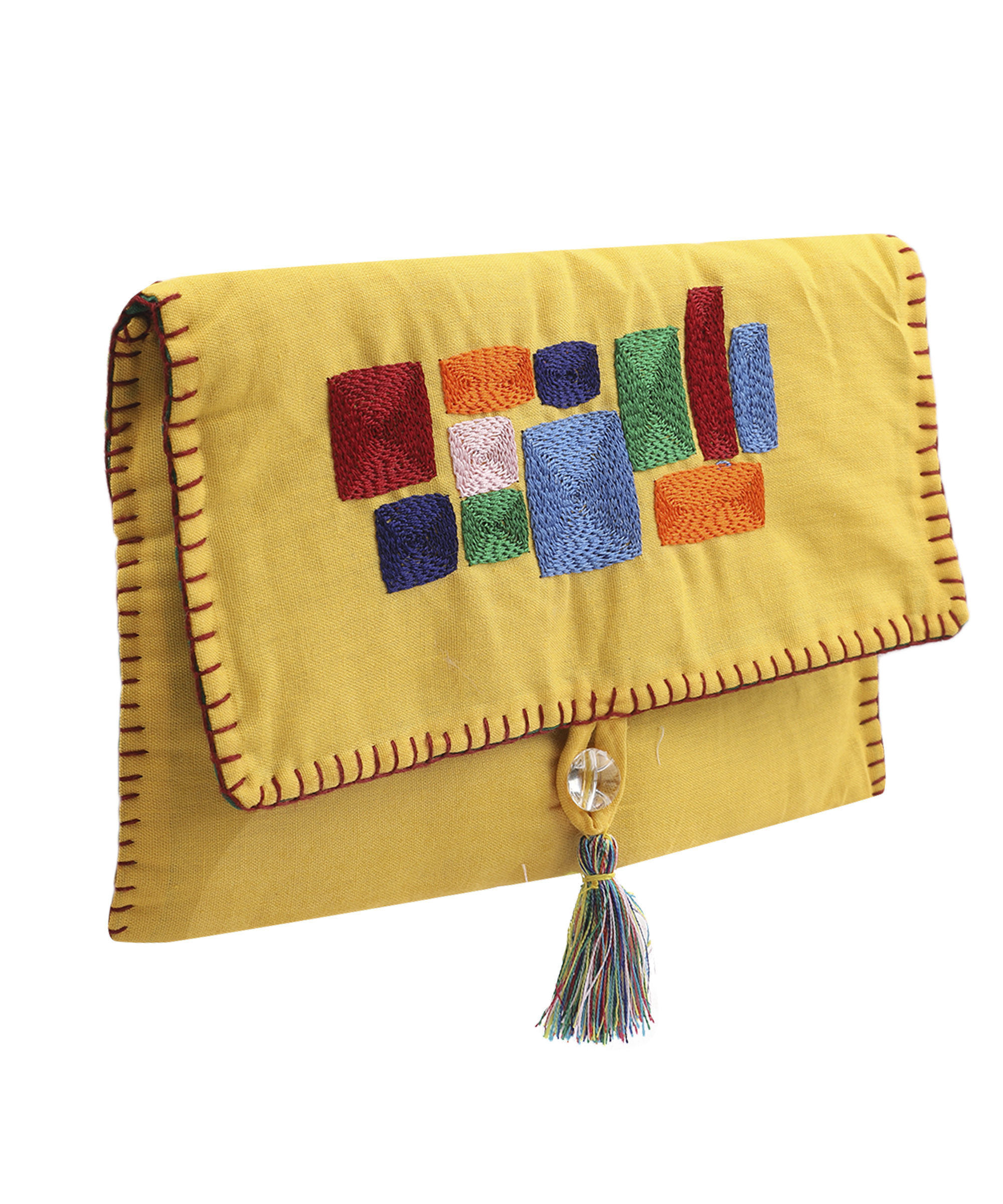 Women's Embroidered Clutch, Poplin Cotton Fabric (Yellow) Slider Thumbnail 1/4