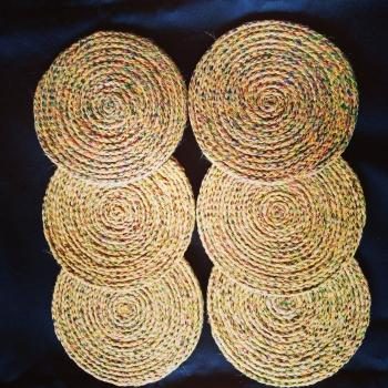 Ethnic Jute Coasters (Set of 6)