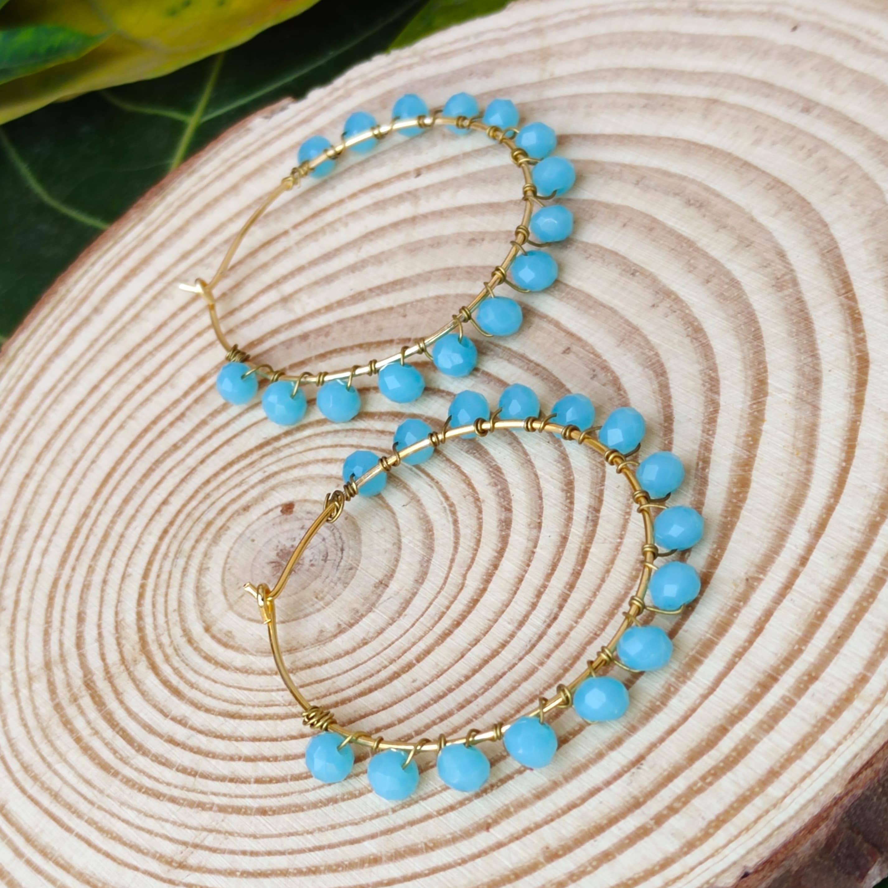 Women's Handmade Intricate Wire Wrapped beaded hoop Earrings Slider Thumbnail 3/3