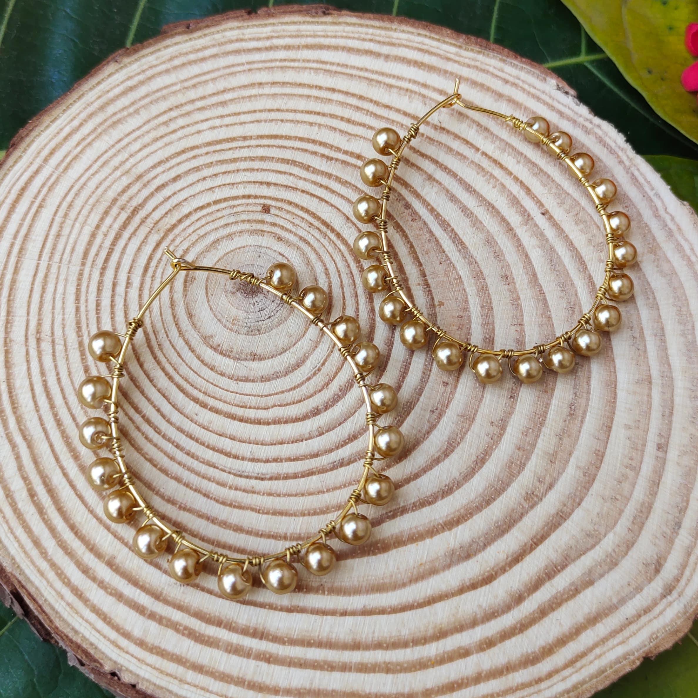 Women's Handmade Golden Pearl Wire Wrapped Hoop Earrings Slider Thumbnail 1/3