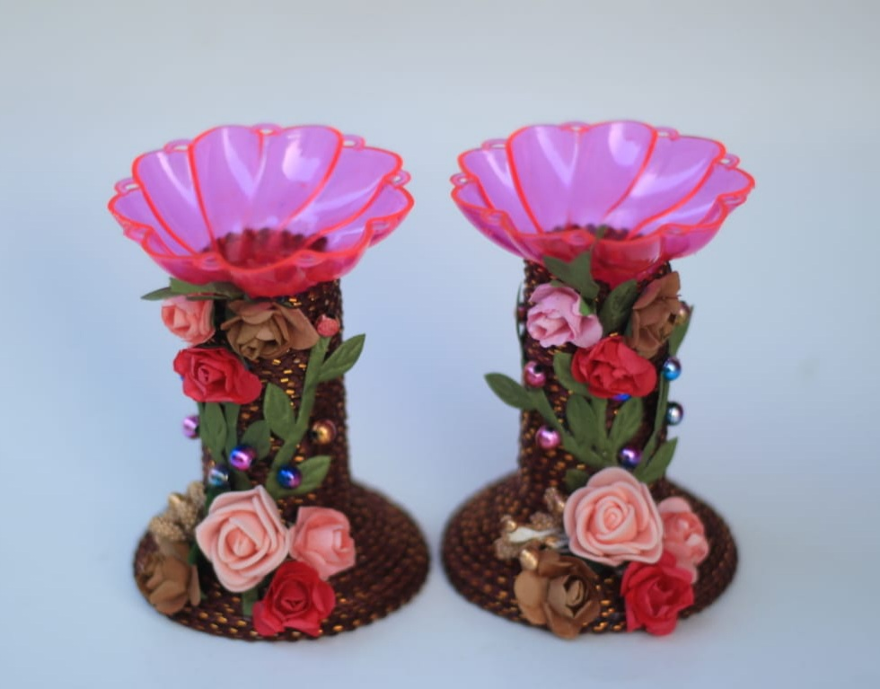 Assorted colors candle stands with Paper Flowers (Set of 2) Slider Thumbnail 2/8