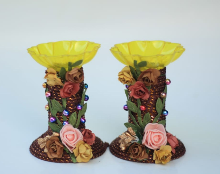 Assorted colors candle stands with Paper Flowers (Set of 2) Slider Thumbnail 4/8